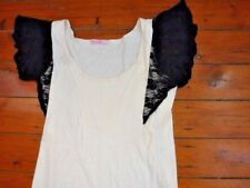 SUPRE Ladies Cotton Top Size S Nude with Black Lace Short Sleeves