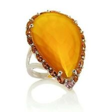 RARITIES Sterling Silver Garnet Yellow Chalcedony Pear Shaped Cocktail Ring Sz 7