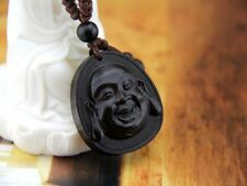 Ebony Wood Carving Chinese Happy Buddha Face Feng Shui Statue Key Chain Ring