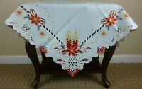 Grant Linen Embroidery Christmas Night Stand Coffee Side Table Topper Cover