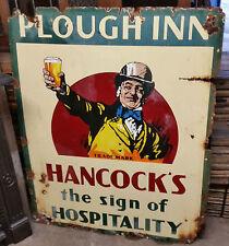 Original Enamel Hancocks Pub Hotel Ale Beer Bitter Advertising Sign