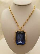 24 Inch Chain With Blue Stone Crystal Pendant Necklace With Earrings By Rain