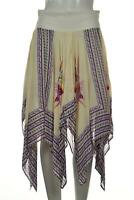 Intimately Free People Womens Skirt Size XS Ivory Floral A-Line Midi Asymmetric
