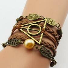 Harry Potter Style Deathly Hallows Golden Snitch Owl Bracelets Brown US New