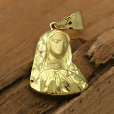 "Mens 18k Gold Plated  Virgin Mary /Star   Pendant 5mm 24"" Cuban Necklace Chain"