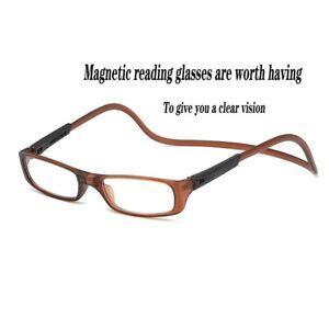Click Adjustable Magnetic Front Connect Reading Eyeglasses FullRim Glass Folding