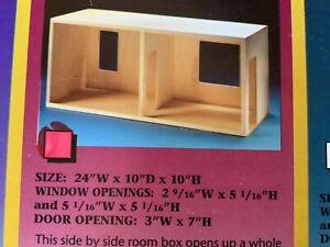 "1:12=1"" scale Miniature #9054 Side by Side Room Box Kit Housework's NIB"