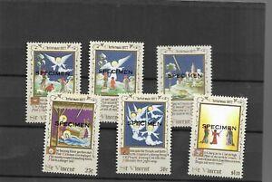 """St.Vincent 1977 Christmas Set of 6 overprinted """"SPECIMEN"""" u/mint"""