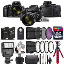 Nikon COOLPIX P900 Digital Camera 83x + Flash + 7PC Filter + EXT BAT - 32GB Kit