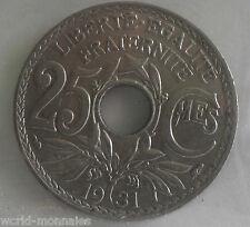 25 centimes lindauer 1931 : TTB : pièce de monnaie française