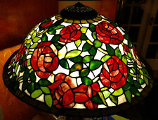 Dale Tiffany Stained Glass Lamp Shade Only Floral Rosebush Rose Art Glass 23.5 W