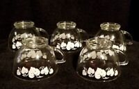 Vintage Anchor Hocking Clear Glass Punch Cups With Grape Leaf Motif & Gold Rim