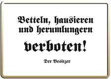 BETTELN VERBOTEN FUNSCHILD - 10x15 cm Blechkarte Blechschild 15012
