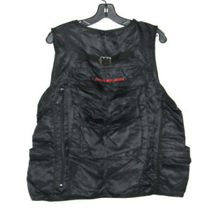 Calvin Klein Black Utility Tactical Mens Travel 8 Pocket Zipper Vest Jacket Sz M