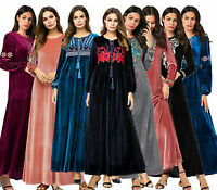 Muslim Women Elegant Velvet Long Maxi Dress Dubai Gown Islamic Abaya Kaftan Robe