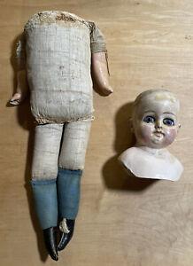 Large Prime Looking Papier-mâché Head Doll-TLC-nude-bald