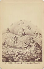 CDV OF PAINTING OF PEOPLE CLIMBING MOUNT VESUVIUS - NAPOLI, ITALY