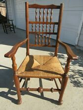 Rare 18Th Century Early American Cherry William And Mary Arm Chair W/ Rush Seat