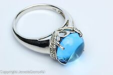 3.50 ct Cabochon Sugarloaf Blue Topaz Diamond Accent 14K White Gold Ring New