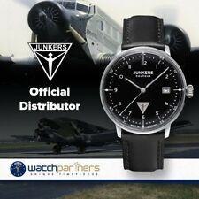 Junkers Bauhaus Swiss quartz watch Black dial Lume dots Hesalite Crystal 6046-2