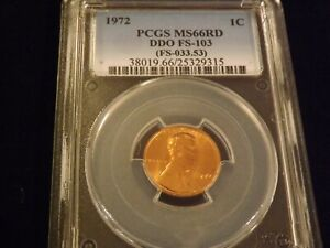 1972     One Cent   DDO        PCGS  MS 66 RD