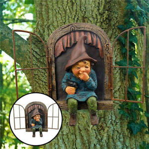 Creative Elf Out The Door Trees Hugger Naughty Garden Gnome Statue For Yard