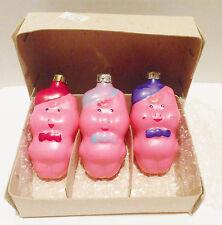 Vtg Three Little Russian Pig Xmas Ornaments Pink TPN Original Box Mid Century