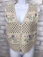Vintage Tantrum Cotton Linen Vest Lattice Floral Cottage Core Women Size Medium
