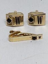 Gold Tone CuffLinks and Tie Bar with Black Stone and Initial W