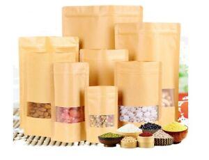 50 Pcs Packaging Zip Lock Kraft Paper Window Bag Stand Up Bag Food Sealing
