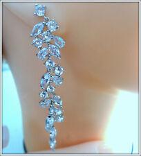 18K WHITE GOLD OVER STUNNING DIAMOND HAND CRAFT LADYS DANGLE DROP EARRING