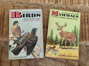 Vintage Golden Nature Guide Books Set Of 2 Birds and Mammals Softcover 4x6