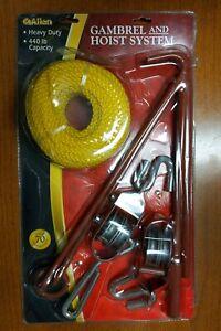 Gambrel Hoist System Pulley Rope Game Deer Hog Elk Gutting Butcher Hanger 440lb