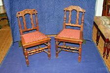 Pair Early 19th Century French Hand Carved Oak Side Chairs w/ Upholstery Seats