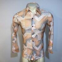 Vtg 60s 70s Disco Shirt DRURY Ugly Geometric Print Stretch NYLON Mens MEDIUM