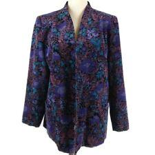 Vintage Tan Jay Womens' Black Velvet Multicolor Floral Blazer Size L