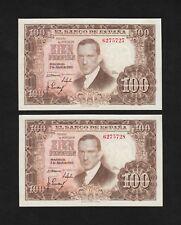 F.C. PAREJA CORRELATIVA 100 PESETAS 1953 , SIN SERIE , EBC+ , MANCHITAS .