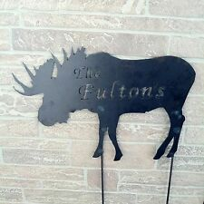 Metal Custom Name Moose Yard Stake