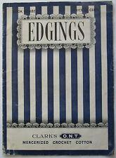 Vintage 1942 Edgings Sewing Pamphlet Clarks ONT Mercerized Crochet Cotton Guide
