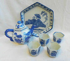 Miniature Chinese Blue and White Porcelain Tea Service on Tray - Hand painted.