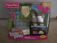 Fisher Price Loving Family Grand Dollhouse New Bathroom toilet tub sink towel