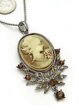 Cameo Rhineston Crystal Necklace Vtg St Topaz Oval Lady