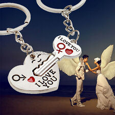 3D Metal Heart and Key I love You Keychain Keyring Set Valentine Marriage Gift