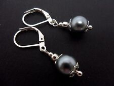 A PAIR OF SHORT SILVER GREY GLASS   PEARL  LEVERBACK HOOK EARRINGS. NEW. 8MM.