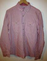 Easy Men's Thick Cotton Shirt Size M Red  White Stripe <R11519z