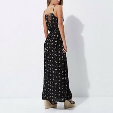 Womens Riverisland New Black Ditsy Floral Vintage Classy Maxi Dress Size 12