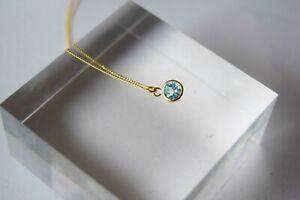9ct gold necklace, Blue topaz necklace, handmade uk
