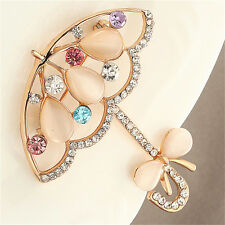 Opal And Rhinestone Umbrella Brooch Pin Cute Korea Style Brooches For Women YJ