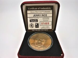 Jerry Rice Bronze Medallion Highland Mint  w/ COA and box limited edition