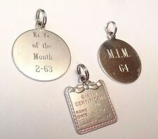 VINTAGE LOT OF 3 CHARMS DISC BIRTH CERTIFICATE STERLING SILVER PENDANT CHARM